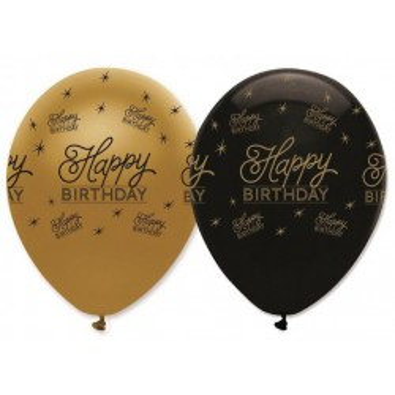 GLOBO LATEX BLACK AND GOLD HAPPY BIRTHDAY