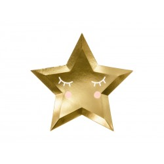 6 PLATOS LITTLE STAR ORO 27 CM