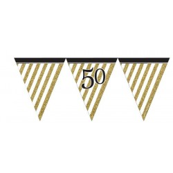 BANDERIN 50 CUMPLEAÑOS BLACK AND GOLD 3.70 M