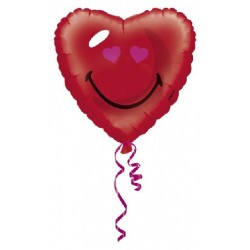 GLOBO FOIL SMILEY CORAZON ROJO 45 CM