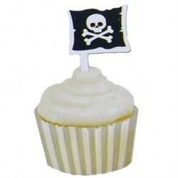 12 CUPCAKES WRAPPERS CON TOPPERS PIRATAS