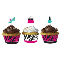 12 CUPCAKES WRAPPERS CON TOPPERS PINK ZEBRA
