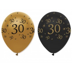 GLOBOS LATEX 30 AÑOS BLACK AND GOLD