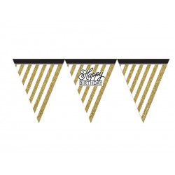 BANDERIN HAPPY BIRTHDAY BLACK AND GOLD 3.70M